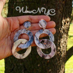 New Chunky Circle Layered Chain Dangle Earrings